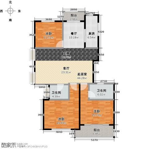 海上国际花园3室0厅2卫1厨131.00㎡户型图