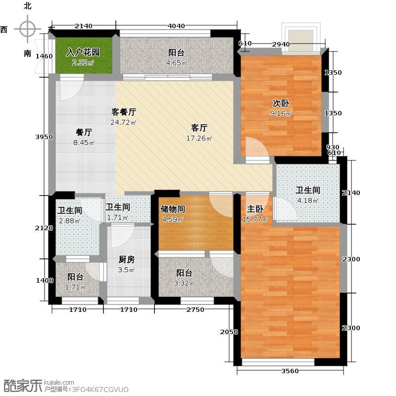 洲际银海湾C2户型2室1厅2卫1厨
