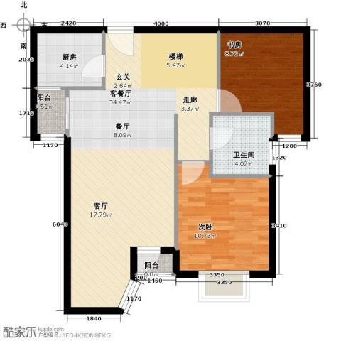 珠江拉维小镇2室1厅1卫1厨90.00㎡户型图
