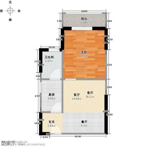 城市风景三期1室1厅1卫1厨50.00㎡户型图