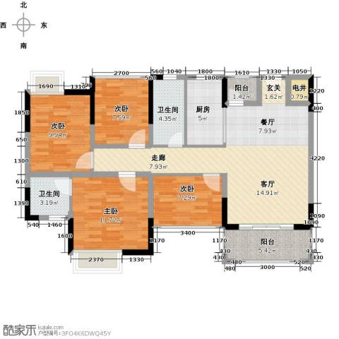 怡丰君逸名轩4室1厅2卫1厨96.00㎡户型图