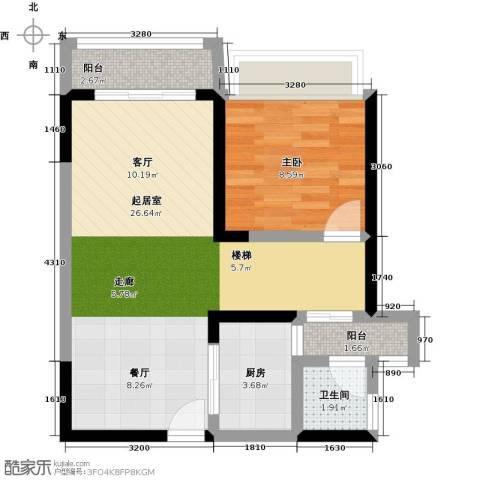 城市风景三期1室0厅1卫1厨67.00㎡户型图