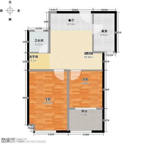 骏丰玲珑坊2室0厅1卫1厨92.00㎡户型图