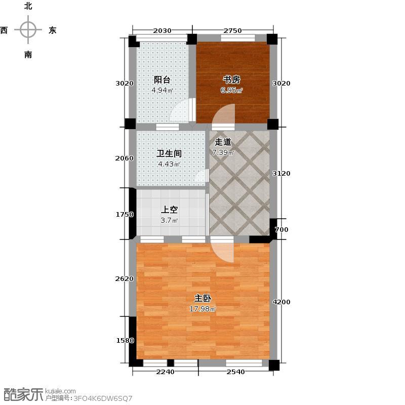 悦水蓝山A2层户型2室1卫