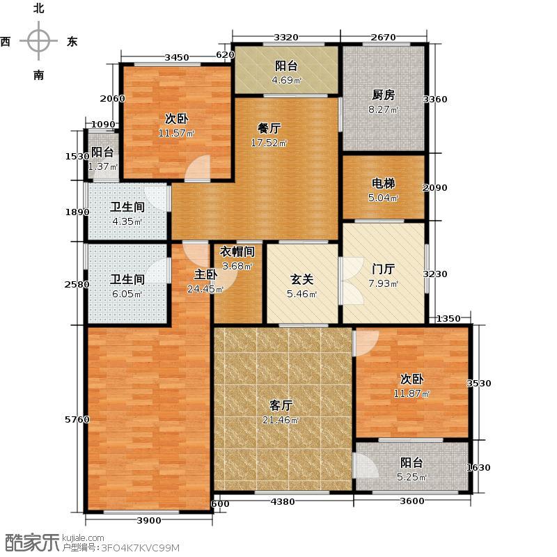 上河湾F3户型3室2厅2卫1厨