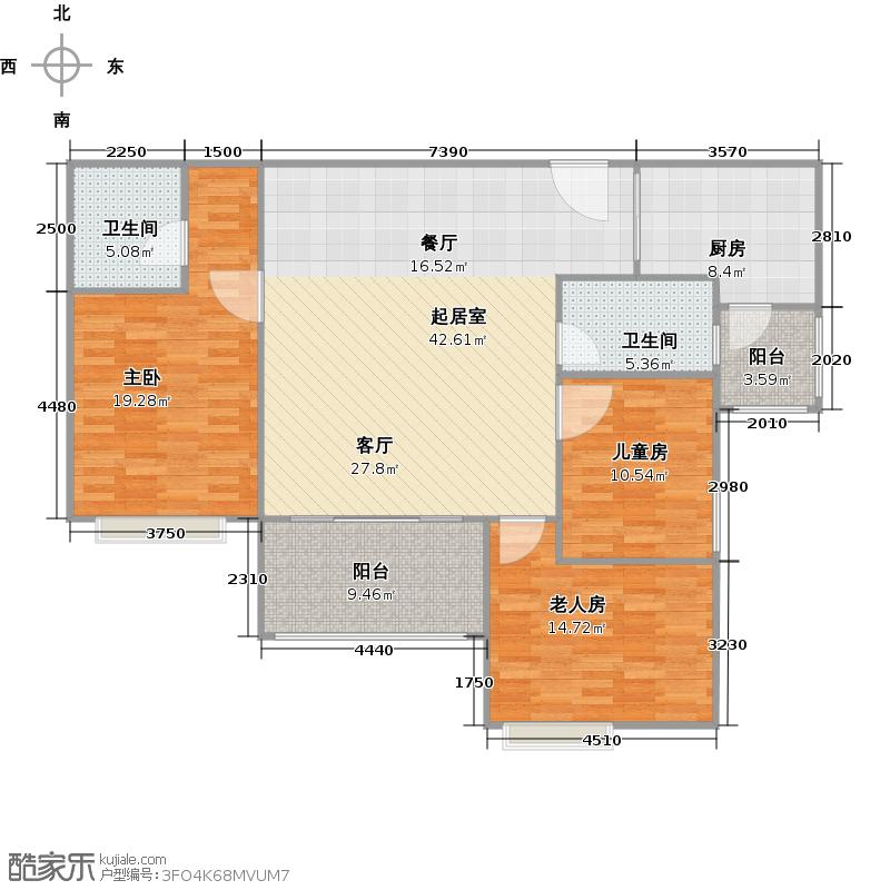明月东山中西合璧风格户型3室2卫1厨