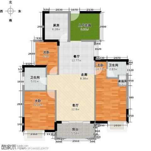 怡丰君逸名轩3室1厅2卫1厨115.00㎡户型图