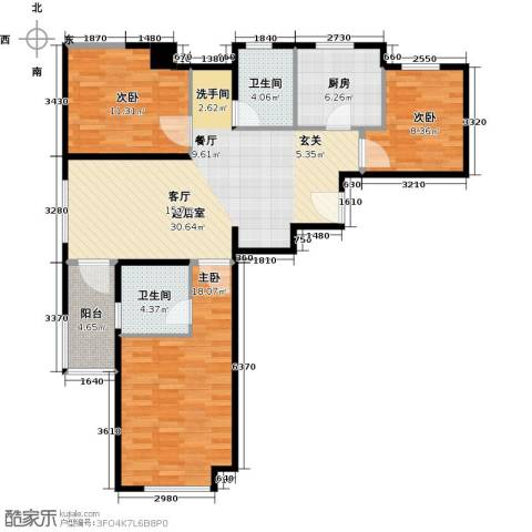 骏丰玲珑坊3室0厅2卫1厨122.00㎡户型图