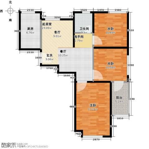 骏丰玲珑坊3室0厅1卫1厨107.00㎡户型图