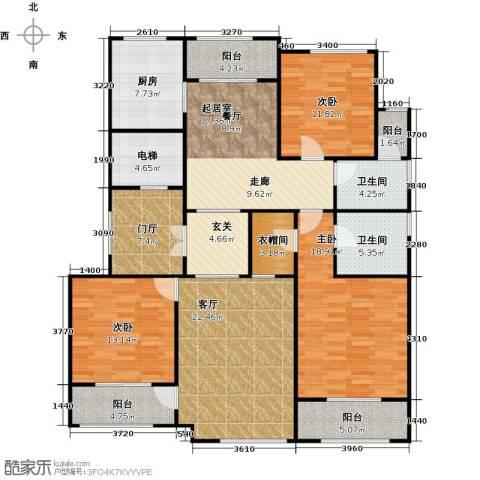 上河湾3室1厅2卫1厨148.00㎡户型图