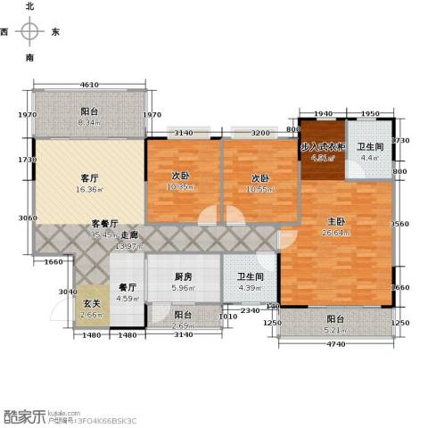 金河湾家园3室1厅2卫1厨129.00㎡户型图