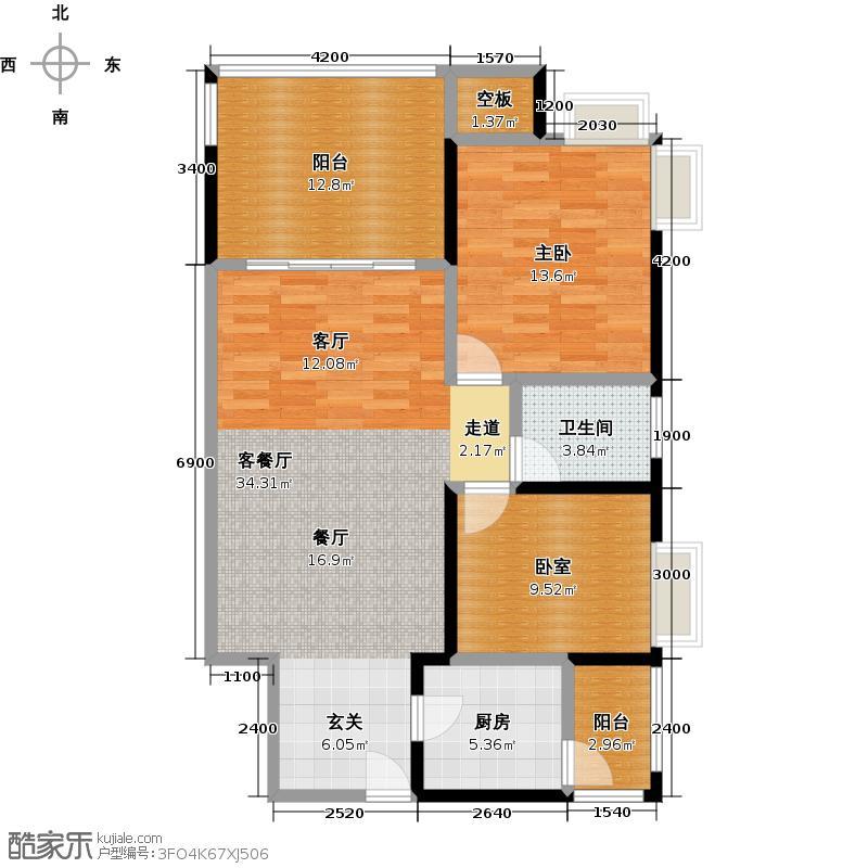 新世纪星城93.98㎡户型1室1厅1卫1厨