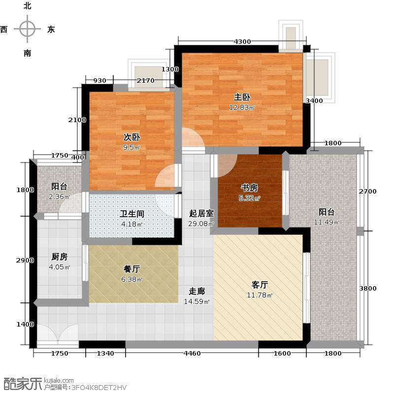 嘉悦山水A3单卫户型3室1卫1厨