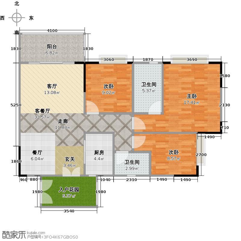 百晟汇翠湾名翠苑36栋二至十七层04单位户型3室1厅2卫1厨