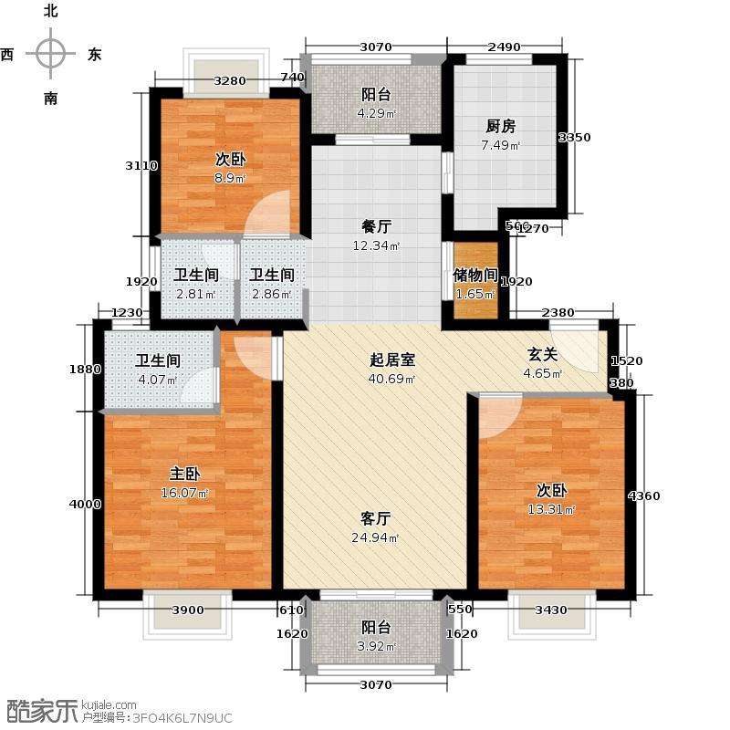 宝业万华城118.00㎡户型3室2卫1厨