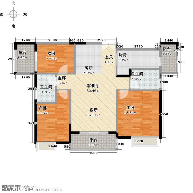 中惠�庭97.74㎡户型3室1厅2卫1厨