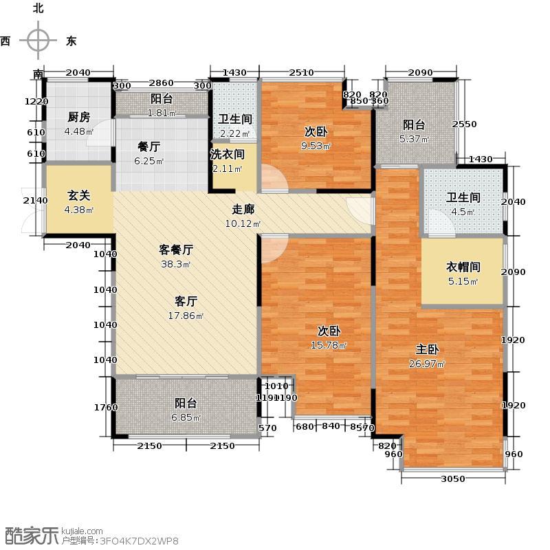 绿地新都会25#C`户型3室1厅2卫1厨
