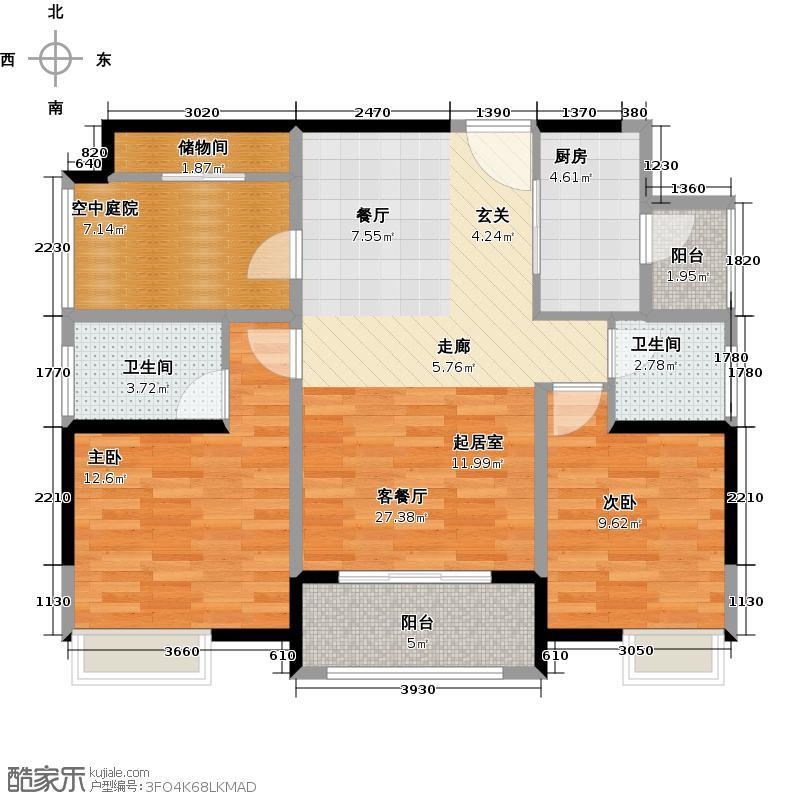金地外滩8号户型2室1厅2卫1厨