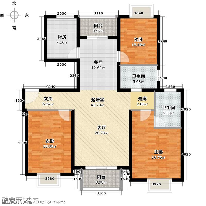 宝业万华城127.00㎡户型3室2卫1厨