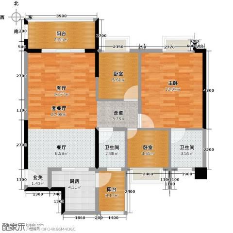 精英世家1室1厅2卫1厨101.00㎡户型图