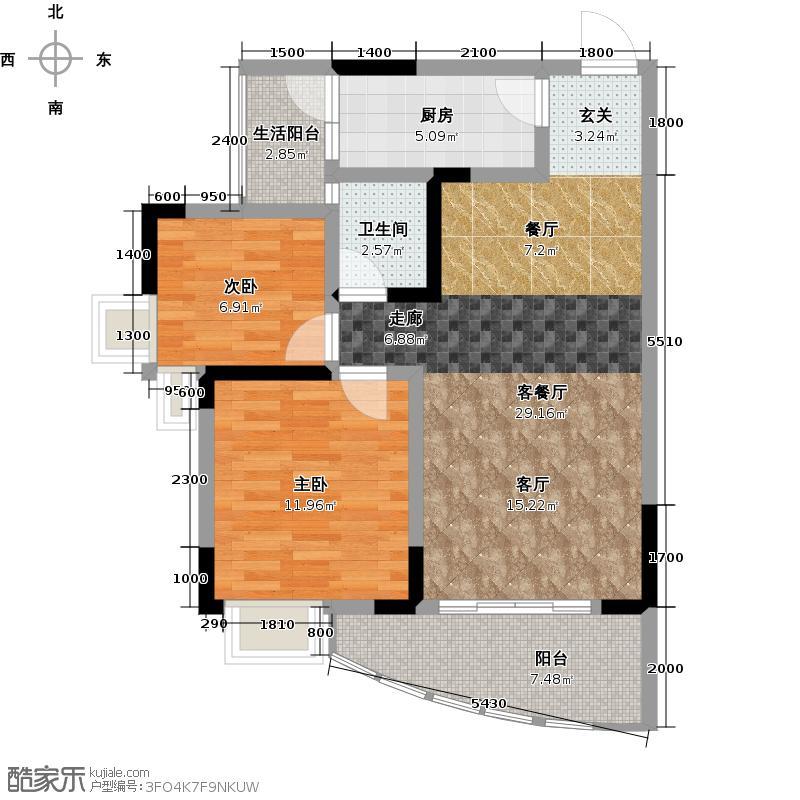 天晨花溪碧D1户型2室1厅1卫1厨