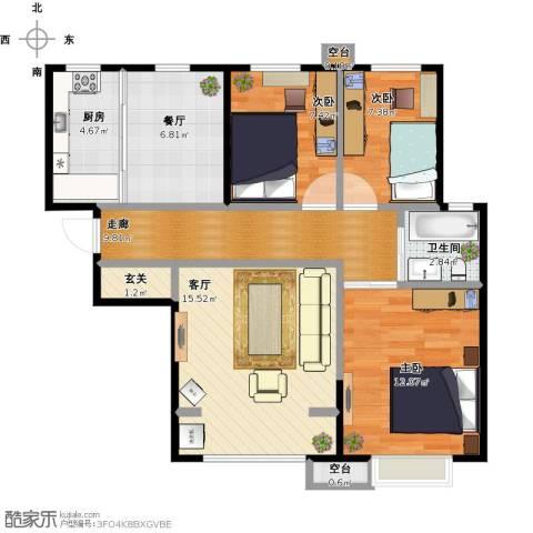 天洋翠堤湾3室2厅1卫1厨94.00㎡户型图