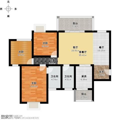 绿地翠谷三期饕界3室1厅2卫1厨137.00㎡户型图
