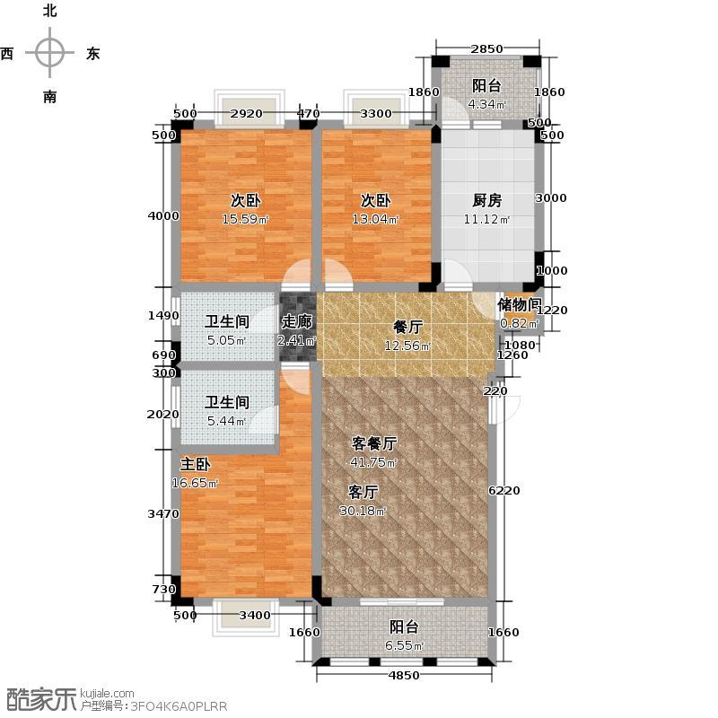 金沙大境湾B1型2-5层洋房户型3室1厅2卫1厨