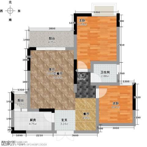祥和御馨园二期2室1厅1卫1厨83.00㎡户型图