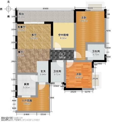 祥和御馨园二期2室1厅2卫1厨106.00㎡户型图