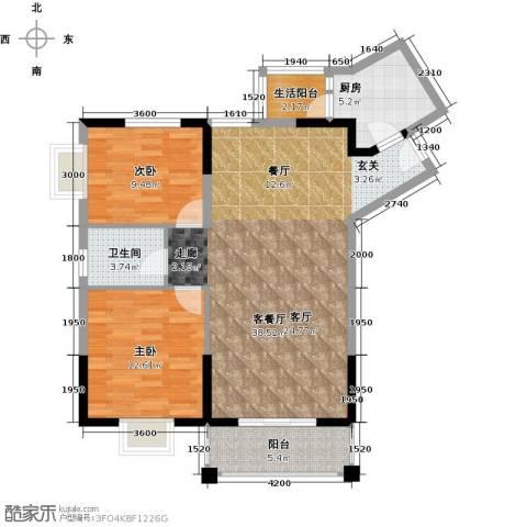 祥和御馨园二期2室1厅1卫1厨109.00㎡户型图