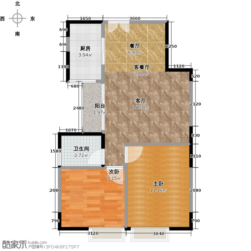 馨领域1栋C2-C3型户型2室1厅1卫1厨