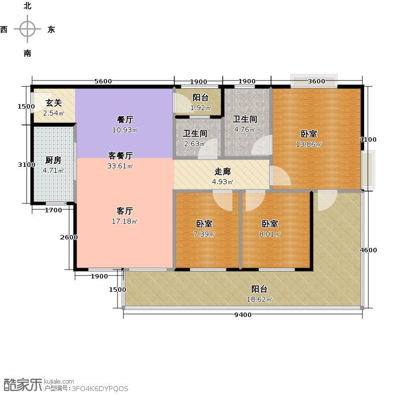 江源半岛花园B区3―17层06单位户型1厅2卫1厨