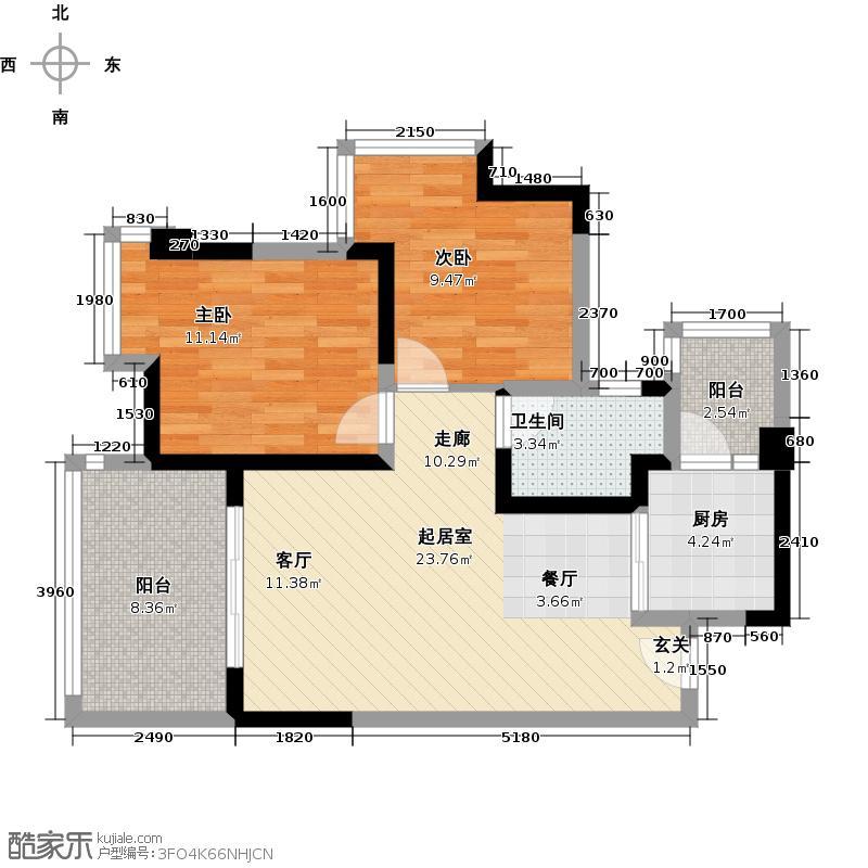 北庭香澜郡C5户型2室1卫1厨