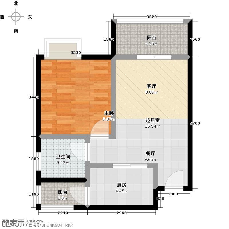 西汇鹃声里1、2号楼A6户型1室1卫1厨
