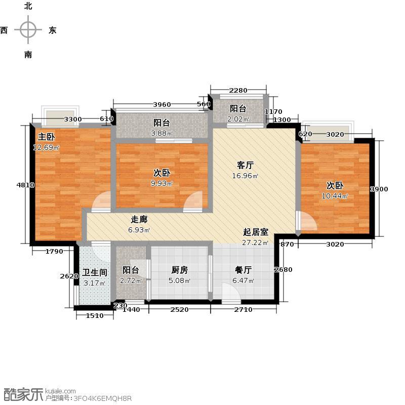 西汇鹃声里1、2号楼A8102户型3室1卫1厨