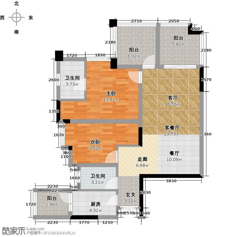 颜龙山水城--32套户型2室1厅2卫1厨