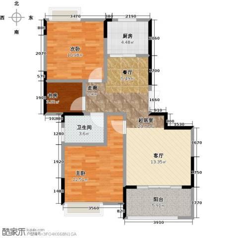 佳源名人公馆3室0厅1卫1厨88.00㎡户型图