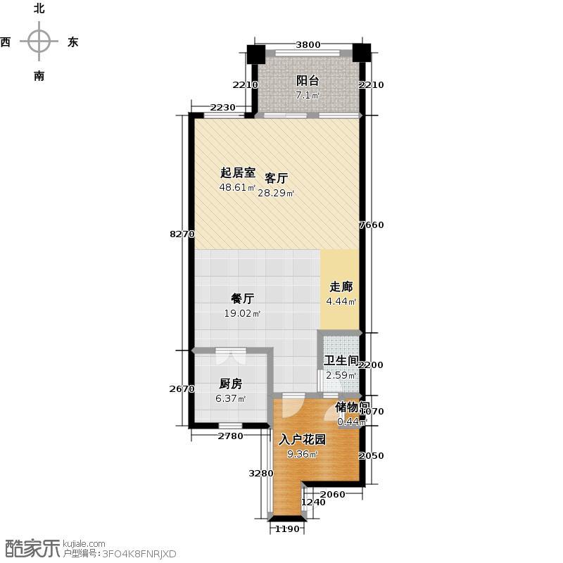 庆隆南山高尔夫国际社区82.44㎡钻石岛B一层户型1卫1厨