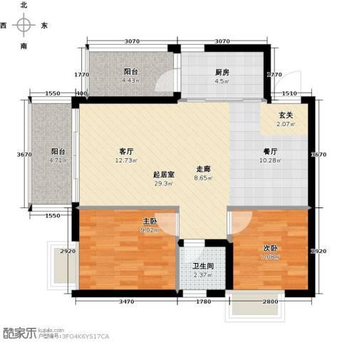 九龙1号2室0厅1卫1厨87.00㎡户型图