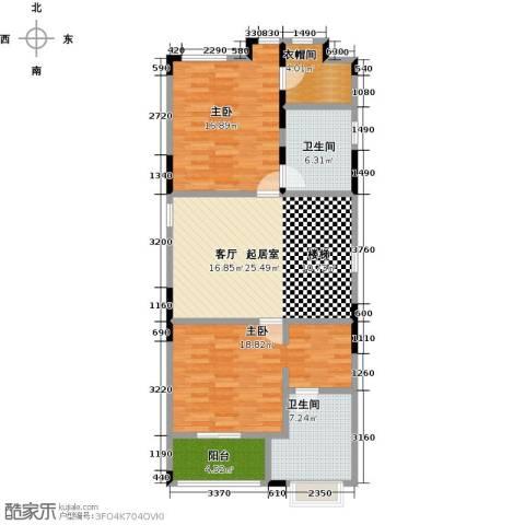 晋愉碧怡林畔东岸2室0厅2卫0厨117.00㎡户型图