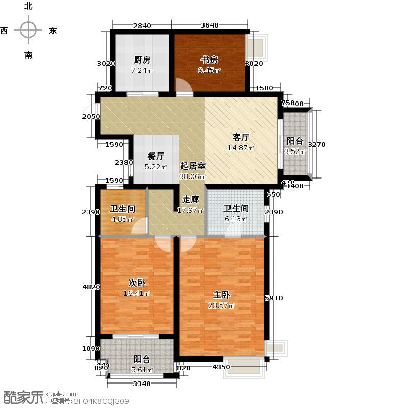 龙湖紫悦湾129.59㎡户型3室2卫1厨
