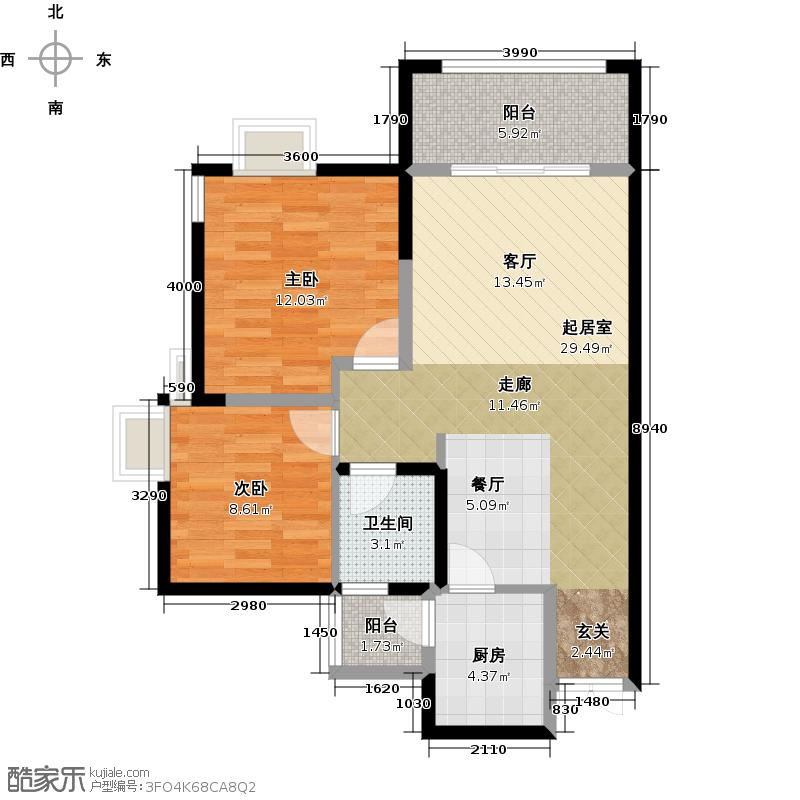 国兴北岸江山B4号楼B-13户型2室1卫1厨