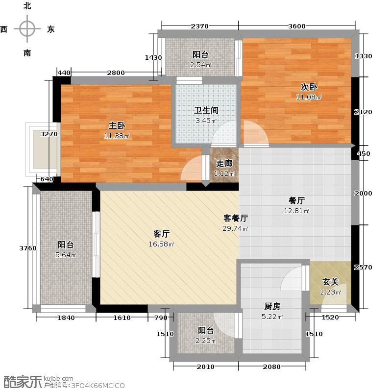 兆甲合阳新城5号楼A户型2室1厅1卫1厨