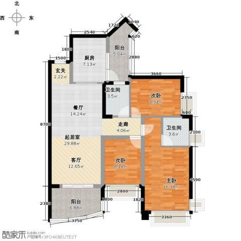 雅居乐国际花园二期3室0厅2卫1厨96.00㎡户型图