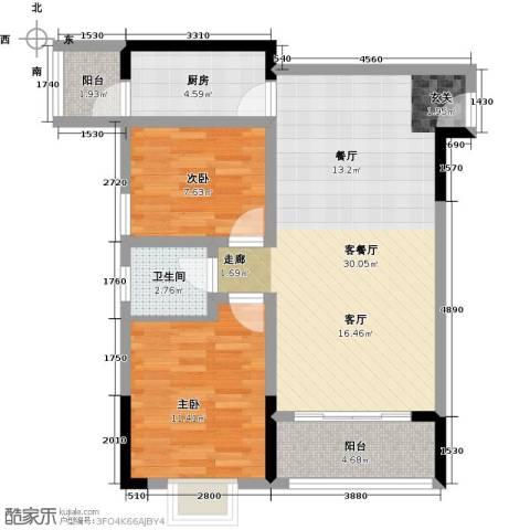 宝嘉花与山2室1厅1卫1厨78.00㎡户型图