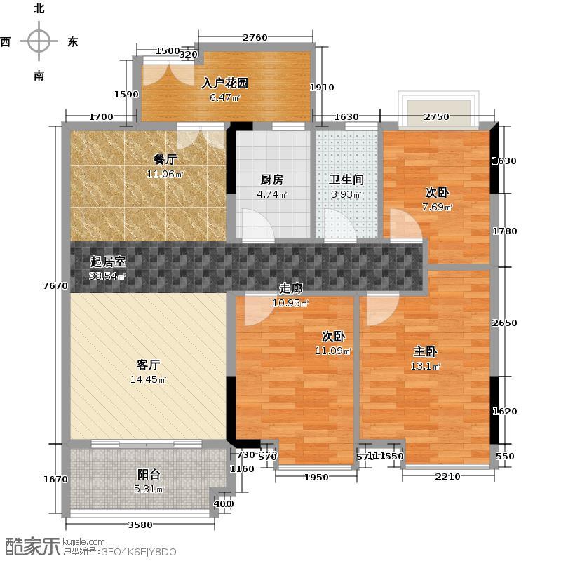 城央御景尚品12栋标准层01单元户型3室1卫1厨