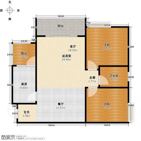 骏逸第一江岸孔雀湾二期2室0厅1卫1厨74.42㎡户型图
