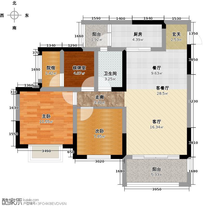 金科廊桥水乡1号楼A2户型2室1厅1卫1厨