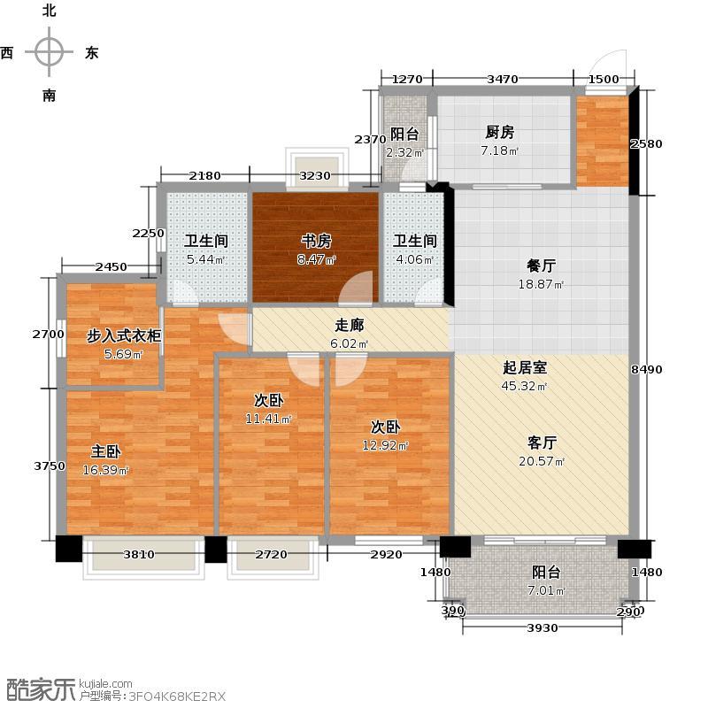 锦绣半山御景【翡翠山】组团155栋02单位南向户型4室2卫1厨
